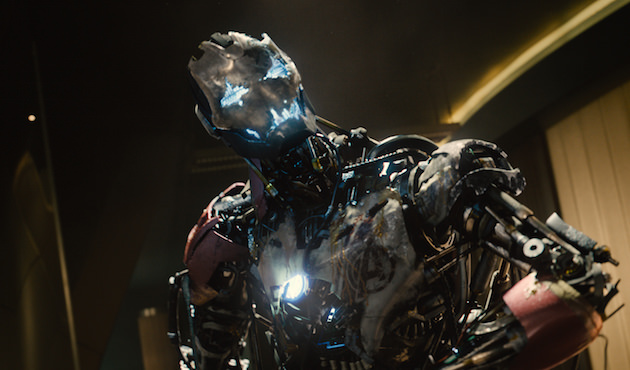 Ultron (voiced by James Spader) makes his first appearance at Avengers HQ. A huge brawl ensues, which dictated how Wood and his team built the set. Courtesy Marvel Studios.