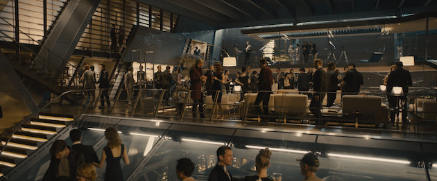 The Avengers host a party at the swank, technologically insane HQ, which was built at Shepperton Studios in the UK. Courtesy Marvel Studios