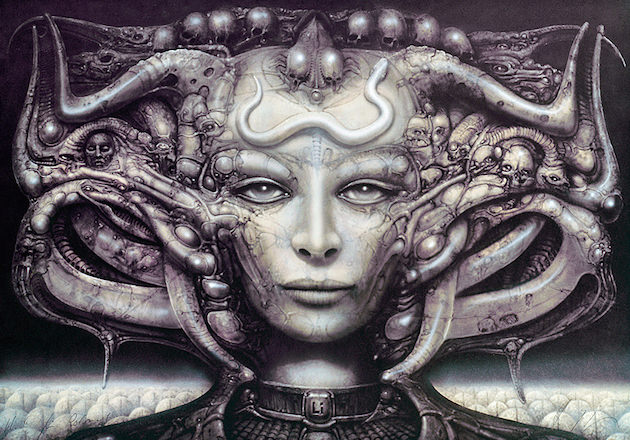A work inspired by Li Tobler. The woman's face in the painting and Li's are almost an exact match. Courtesy 'Dark Star: H.R. Giger's World.'