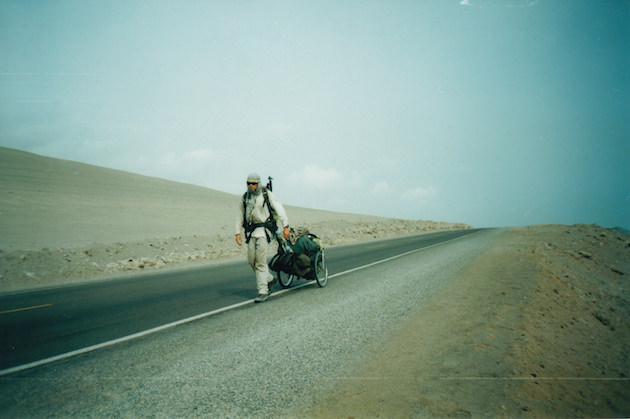 Much of Karl's trip has looked something like this--Karl, alone on a road. Courtesy Karl Bushby