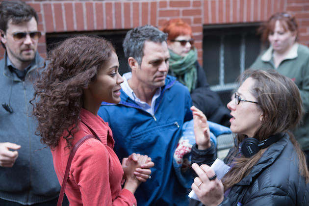 Maya Forbes on set with Zoe Saldana and Mark Ruffalo. Courtesy Sony Pictures Classics
