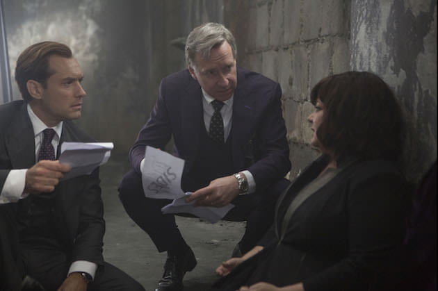 "Director Paul Feig (center) on the set of ""Spy"" with Jude Law and Melissa McCarthy. Courtesy 20th Century Fox"