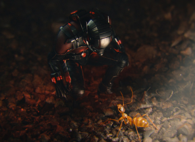 Shooting down on Paul Rudd allowed the filmmakers to keep Ant-Man in the proper proportion to his surroundings. Photo Credit: Film Frame  © Marvel 2015