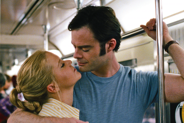 """Amy (AMY SCHUMER) gets closer to Aaron (BILL HADER) in """"Trainwreck"""", the new comedy from director/producer Judd Apatow that is written by and stars Schumer as a woman who lives her life without apologies, even when maybe she should apologize. Courtesy Universal Pictures."""