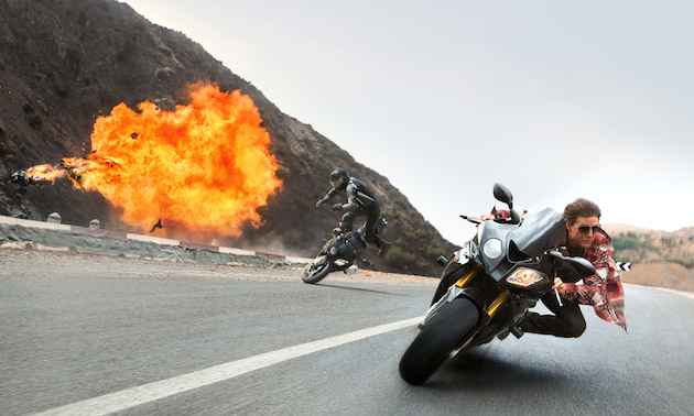 Cruise has always had an affinity for motorcycle stunts, going all the way back to Maverick's classic Kawasaki Ninja 900 in 'Top Gun.' Courtesy Paramount Pictures and Skydance.