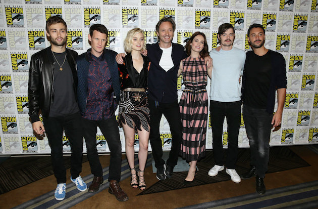 "Douglas Booth, Matt Smith, Bella Heathcote, Director Director Burr Steers, Lily James, Sam Riley and Jack Huston seen at Screen Gems' ""Pride and Prejudice and Zombies"" Presentation at 2015 Comic-Con on Saturday, July 11, 2015, in San Diego."