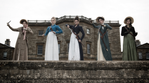 (l to r) Ellie Bamber (Lydia), Bella Heathcote (Jane), Lily James (Elizabeth), Millie Brady (Mary) and Suki Waterhouse (Kitty) in Screen Gems' PRIDE AND PREJUDICE AND ZOMBIES.