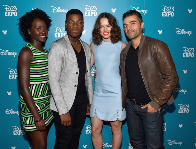 "ANAHEIM, CA - AUGUST 15:  (L-R) Actors Lupita Nyong'o, John Boyega, Daisy Ridley and Oscar Isaac of STAR WARS: THE FORCE AWAKENS took part today in ""Worlds, Galaxies, and Universes: Live Action at The Walt Disney Studios"" presentation at Disney's D23 EXPO 2015 in Anaheim, Calif.  (Photo by Alberto E. Rodriguez/Getty Images for Disney) *** Local Caption *** Lupita Nyong'o; John Boyega; Daisy Ridley; Oscar Isaac"