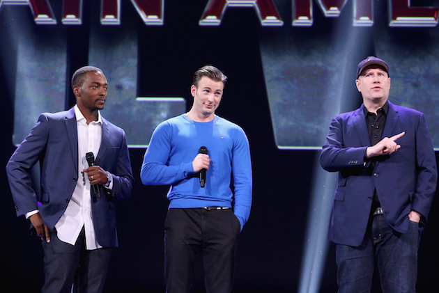 "ANAHEIM, CA - AUGUST 15:  (L-R) Actors Anthony Mackie, Chris Evans and Producer Kevin Feige of CAPTAIN AMERICA: CIVIL WAR took part today in ""Worlds, Galaxies, and Universes: Live Action at The Walt Disney Studios"" presentation at Disney's D23 EXPO 2015 in Anaheim, Calif.  (Photo by Jesse Grant/Getty Images for Disney)"