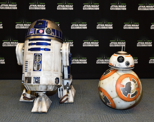 R2-D2 and BB-8 at the 'Star Wars: The Force Awakens' panel in Anaheim. Courtesy Walt Disney Pictures.
