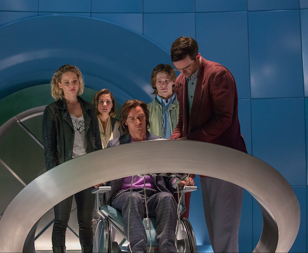 L-r: Jennifer Lawrence as Raven/Mystique, Rose Byrne as Moira MacTaggart, James McAvoy as Charles/Professor X, Lucas Till as Alex Summers/Havok and Nicholas Hoult as Hank McCoy/Beast. Photo by Alan Markfield. Courtesy 20th Century Fox