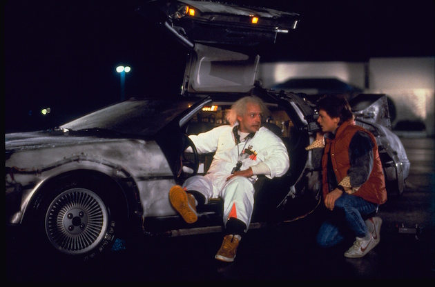 Doc (Christopher Lloyd) and Marty (Michael J. Fox) in 'Back to the Future.' Courtesy Universal
