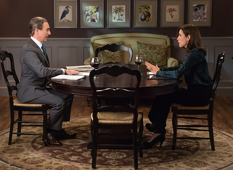 Pictured (L-R) Alan Cumming as Eli Gold and Julianna Margulies as Alicia Florrick Photo: Jeff Neumann ©2014 CBS Broadcasting, Inc. All Rights Reserved