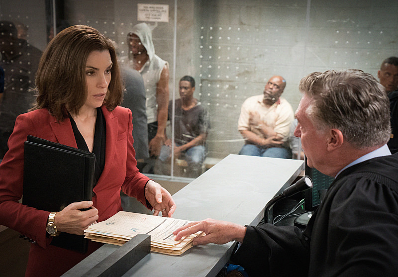 """""Bond"" -- Alicia  (Julianna Margulies) attempts to revive her struggling law career by representing arrestees seeking release on bail in bond court, where she meets attorney Lucca Quinn (Cush Jumbo), who competes for her clients. Also, Peter brings in national strategist Ruth Eastman (Margo Martindale) to help with his Presidential campaign, and creates an interesting dynamic with Eli in the process, on the seventh season premiere of THE GOOD WIFE, Sunday, Oct. 4  (9:00-10:00 PM ET/PT) on the CBS Television Network. Photo: David M. Russell/CBS  ©2015 CBS Broadcasting, Inc. All Rights Reserved"
