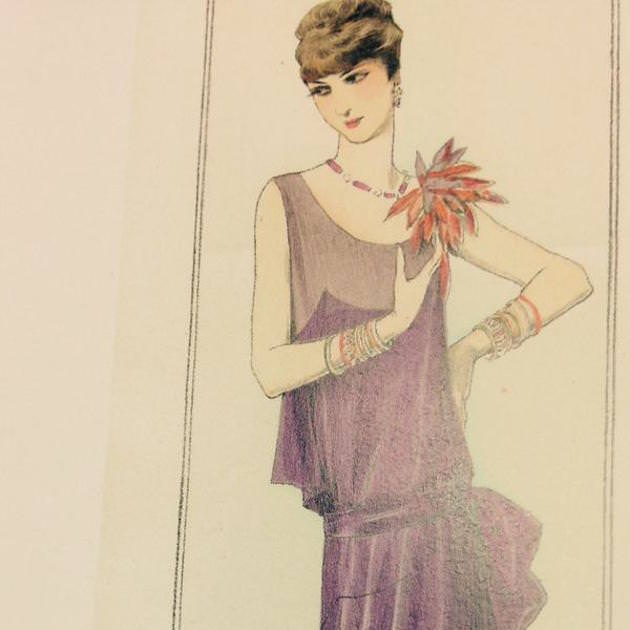 Design inspiration for a Lady Mary evening dress by Anna Robbins.