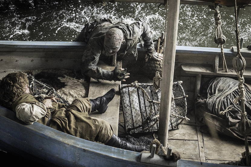 Tyrion (Peter Dinklage) is attacked by a Stone Man. Photo by Helen Sloane. Courtesy HBO.