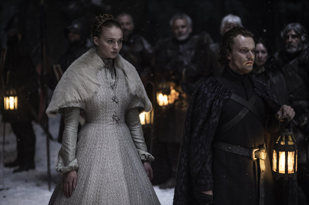 Sansa Stark (Sophie Turner) and Reek (Alfie Allen) await Sansa's marriage to Ramsay Bolton. Courtesy HBO.