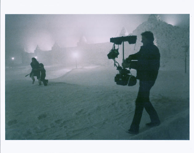 Garrett Brown filming Shelly Duvall and Danny Lloyd racing towards the labyrinth at the end of 'The Shining.' Courtesy Garrett Brown.