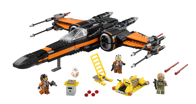 LEGO Star Wars Poe?s X-Wing Fighter?   Licensee: LEGO MSRP: $79.99 Available: September 4   Battle the forces of the First Order with Poe's X-Wing Fighter. This customized starfighter is packed with features, like the 4 spring-loaded shooters, 2 stud shooters, retractable landing gear, opening wings, opening cockpit with space for a minifigure and space behind for the BB-8 Astromech Droid. There?s even a loader with tool rack, extra ammunition, and a seat for a minifigure. So climb the access ladder, strap in and get ready to recreate your own great scenes from Star Wars: The Force Awakens! Includes 3 minifigures with assorted accessories: Poe Dameron, Resistance ground crew and a Resistance X-Wing Pilot, plus a BB-8 Astromech Droid.