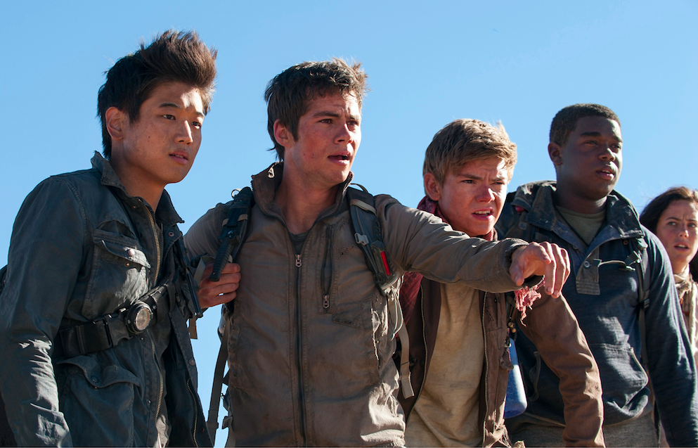 The 'Maze Runner' gladers. From L-r: Min Ho (Ki Hong Lee), Thomas (Dylan O'Brien), Newt (Thomas Brodie-Sangster), Frypan (Dexter Darden) and Teresa (Kaya Scodelario) face their greatest challenge yet. Photo by Richard Foreman. Courtesy 20th Century Fox.