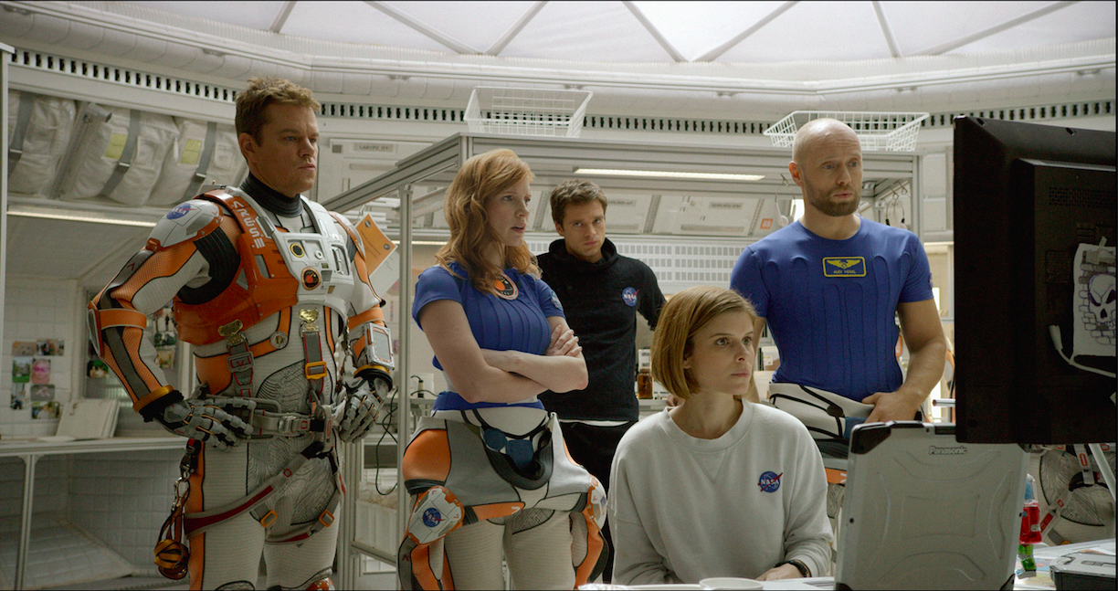 L-r: Matt Damon, Jessica Chastain, Sebastian Stan, Kate Mara and Askel Hennie portray the crewmembers of the fateful mission to Mars. Courtesy Twentieth Century Fox.