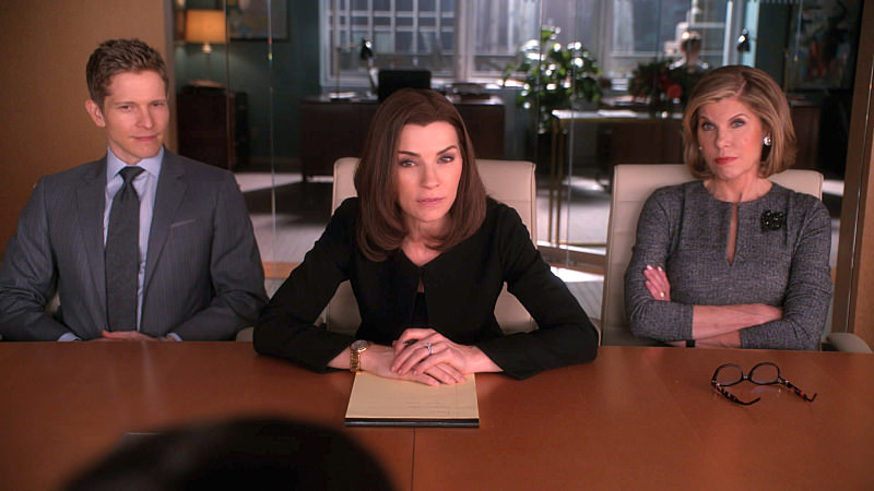 """Mind's Eye"" -- Alicia prepares for a key interview which could impact the outcome of the race for State's Attorney.  Also, Louis Canning pressures Florrick/Agos/Lockhart to agree on a settlement in his wrongful eviction case against the firm, on THE GOOD WIFE, Sunday, March 8 (9:00-10:00 PM, ET/PT), on the CBS Television Network.  Pictured: Julianna Margulies, Matt Czuchry and Christine Baranski Photo: Best Possible Screen Grab/CBS"