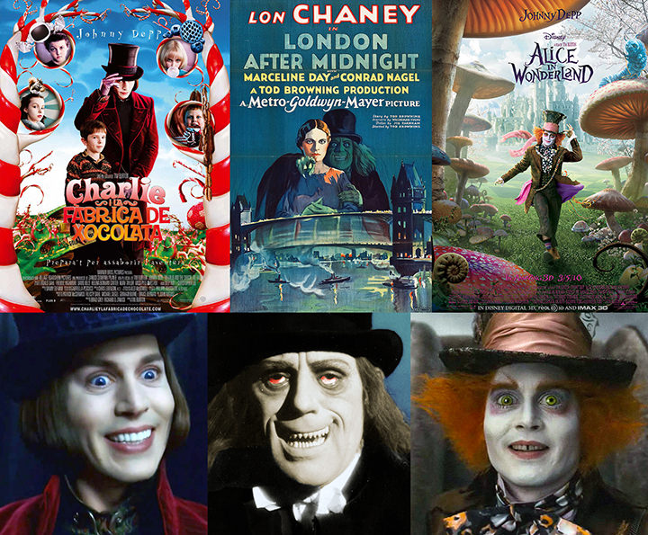 Charlie and the Chocolate Factory (2005), poster: © Warner Bros. Pictures London After Midnight (1927), poster: © MGM/Distributed by Warner Bros. Pictures. Alice In Wonderland (2010), poster: © Walt Disney Pictures bottom, left to right: Johnny Depp as Willy Wonka in Charlie and the Chocolate Factory (2005): © Warner Bros. Pictures Lon Chaney as The Man in The Beaver Hat in London After Midnight (1927): © MGM/Distributed by Warner Bros. Pictures. Johnny Depp as the Mad Hatter in Alice In Wonderland (2010): © Walt Disney Pictures