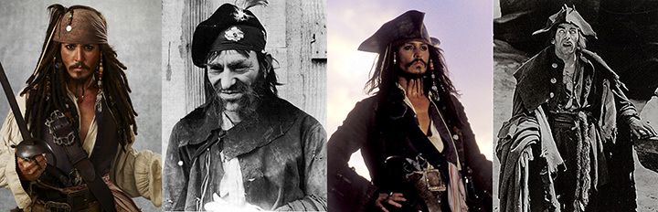 Johnny Depp as Jack Sparrow in Pirates of The Caribbean: The Curse of the Black Pearl (2003): © Walt Disney Pictures Lon Chaney as Merry in Treasure Island (1920, lost): Maurice Turner Productions Johnny Depp as Jack Sparrow in Pirates of The Caribbean: The Curse of the Black Pearl (2003): © Walt Disney Pictures Lon Chaney as Blind Pew in Treasure Island (1920, lost): Maurice Turner Productions