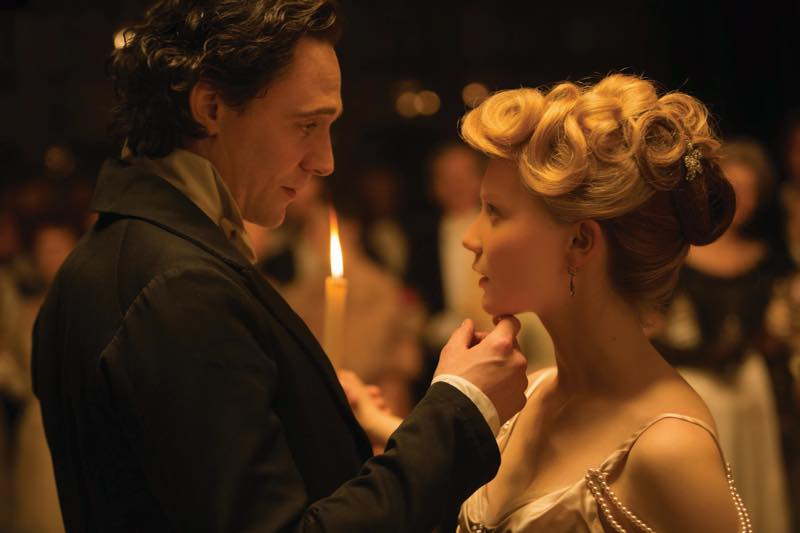 Tom Hiddleston as Sir Thomas Sharpe and Mia Wasikowska as Edith Cushing in Crimson Peak. Courtesy Universal Pictures/Legendary