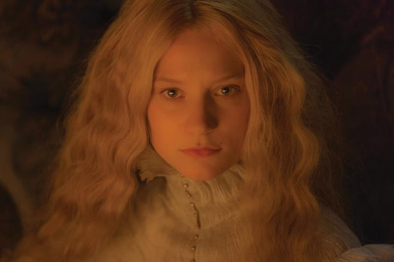 Mia Wasikowska as Edith Cushing in light colored lace. Courtesy Universal Pictures/Legendary