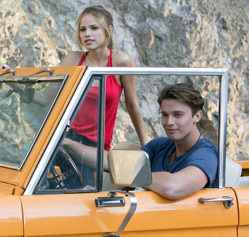Left to right: Halston Sage plays Kendall Grant and Patrick Schwarzenegger plays Jeff in SCOUTS GUIDE TO THE ZOMBIE APOCALYPSE from Paramount Pictures.