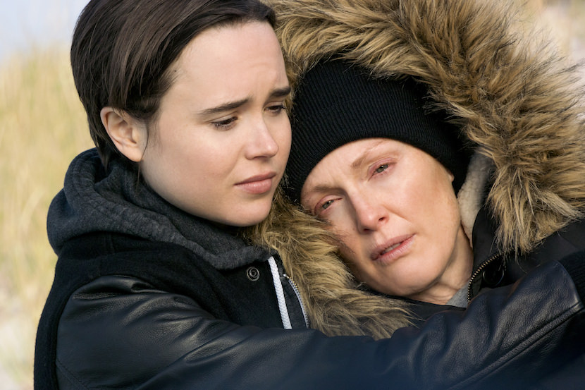 Laurel Hester (Julianne Moore, right) and Stacie Andree (Ellen Page, left) in FREEHELD. Photo Credit: Phil Caruso. Courtesy Lionsgate
