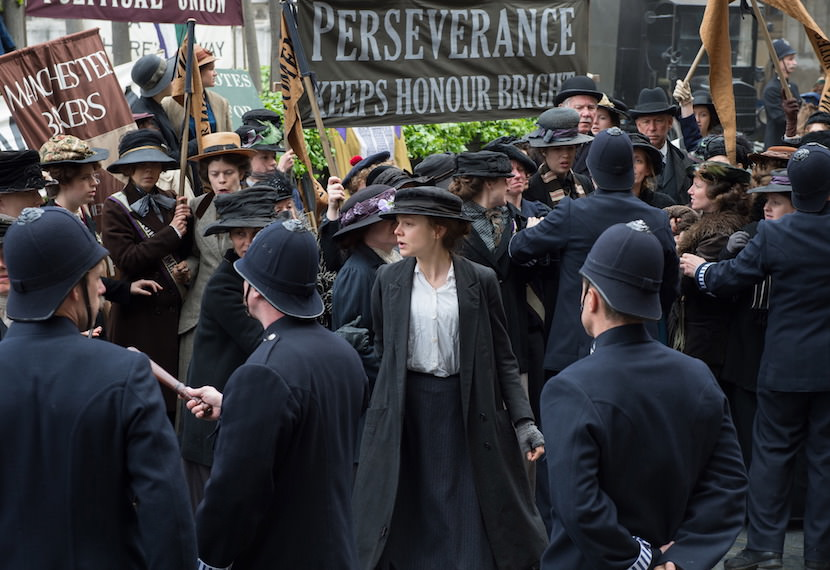 Carey Mulligan (center) stars as Maud Watts in director Sarah Gavron's SUFFRAGETTE, a Focus Features release.  Credit : Steffan Hill / Focus Features