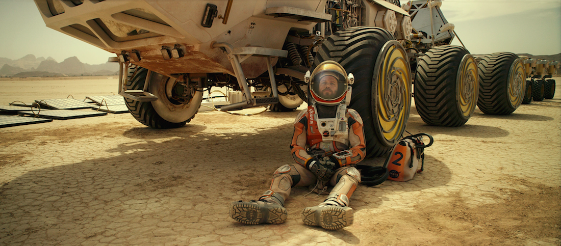 Matt Damon portrays astronaut Mark Watney, stranded on Mars and trying to find a way to subsist on a hostile planet. Courtesy Twentieth Century Fox.