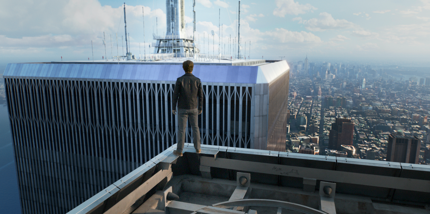 Philippe Petit (Joseph Gordon-Levitt) surveys the gap between the Twin Towers, 102 flights up. Courtesy Sony Pictures.