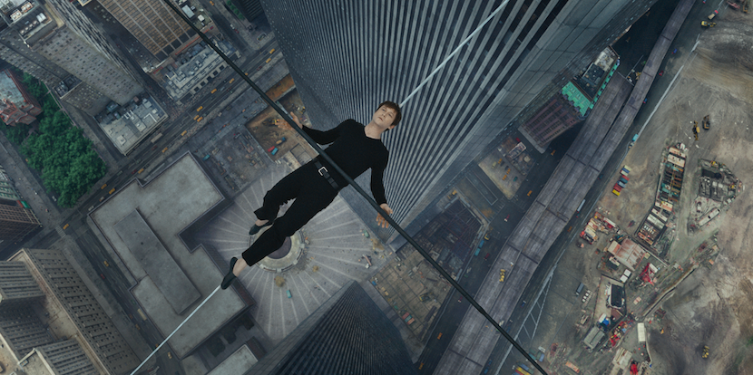 Philippe Petit (Joseph Gordon-Levitt) needs to rest due to the pole's weight. It's also impeccable theater. Courtesy Sony Pictures.