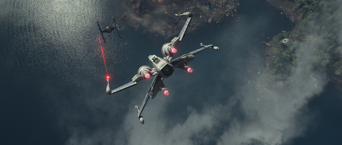 Head-to-head combat between this X-Wing and TIE Fighter. Star Wars: The Force Awakens Ph: Film Frame © 2014 Lucasfilm Ltd; TM. All Right Reserved..
