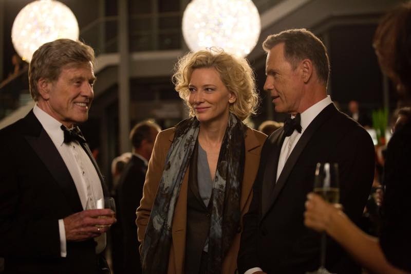 Left to right: Robert Redford as Dan Rather, Cate Blanchett as Mary Mapes and Bruce Greenwood as Andrew Heyward Photo by Lisa Tomasetti © 2015 RatPac Truth LLC., Courtesy of Sony Pictures Classics