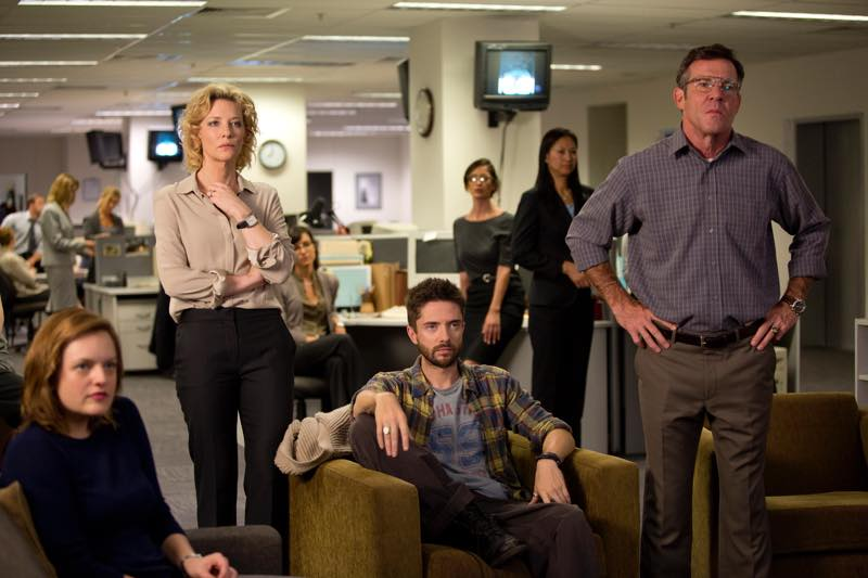 Left to right: Elisabeth Moss as Lucy Scott, Cate Blanchett as Mary Mapes, Topher Grace as Mike Smith and Dennis Quaid as Lt. Colonel Roger Charles Photo by Lisa Tomasetti © 2015 RatPac Truth LLC., Courtesy of Sony Pictures Classics