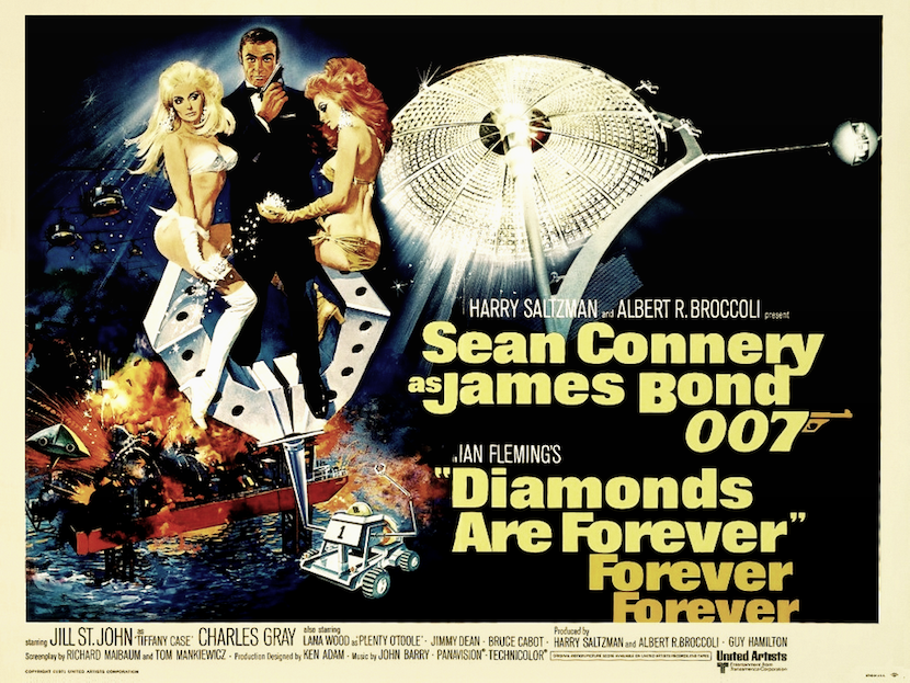 'Diamonds are Forever' theatrical poster. Eon Productions, Designed by Robert McGinnis