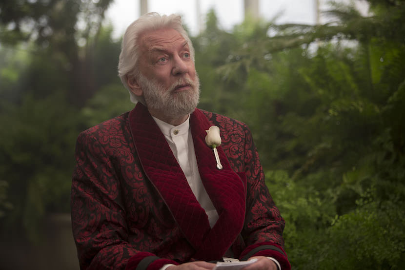 Donald Sutherland stars as 'President Snow' in THE HUNGER GAMES: MOCKINGJAY - PART 2. Photo Credit: Murray Close