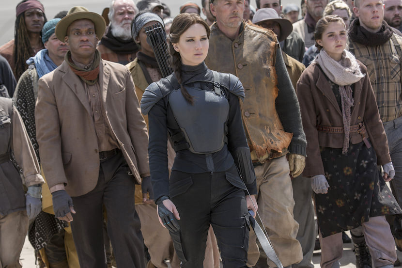 Katniss fully inhabits her role as the Mockingjay. Photo Credit: Murray Close