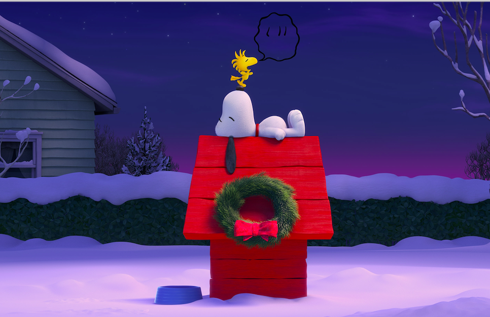 Snoopy and Woodstock have a quiet moment. Photo credit: 20th Century Fox & Peanuts Worldwide LLC
