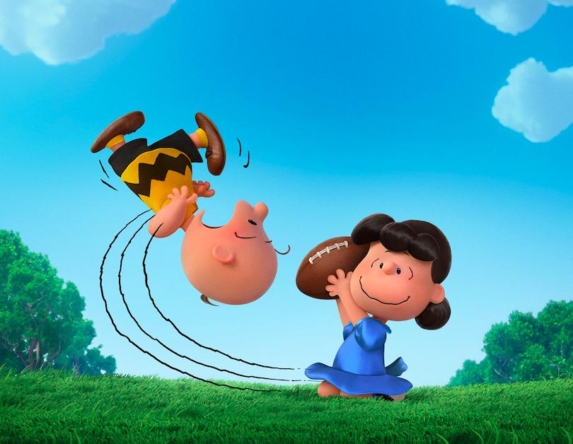 Hut, hut, hike! Charlie Brown and Lucy. Courtesy Twentieth Century Fox & Peanuts Worldwide LLC
