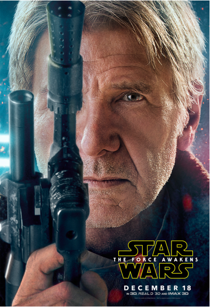 Han Solo (Harrison Ford)'s character poster. Courtesy Walt Disney Pictures/Lucasiflm