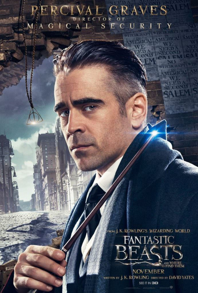 Colin Farrell as Percival Graves in a poster for Fantastic Beasts and Where to Find Them. Courtesy Warner Bros.