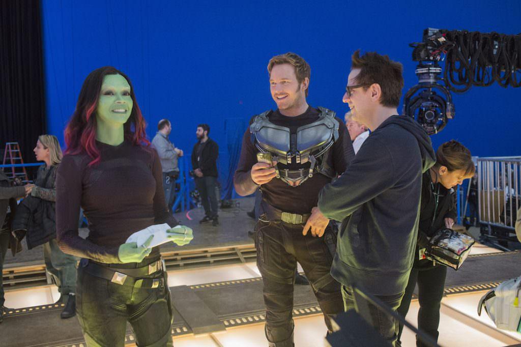 Zoe Saldana, Chris Pratt, and James Gunn on the set of 'Guardians of the Galaxy: Volume II.' Courtesy Marvel/Walt Disney Studios