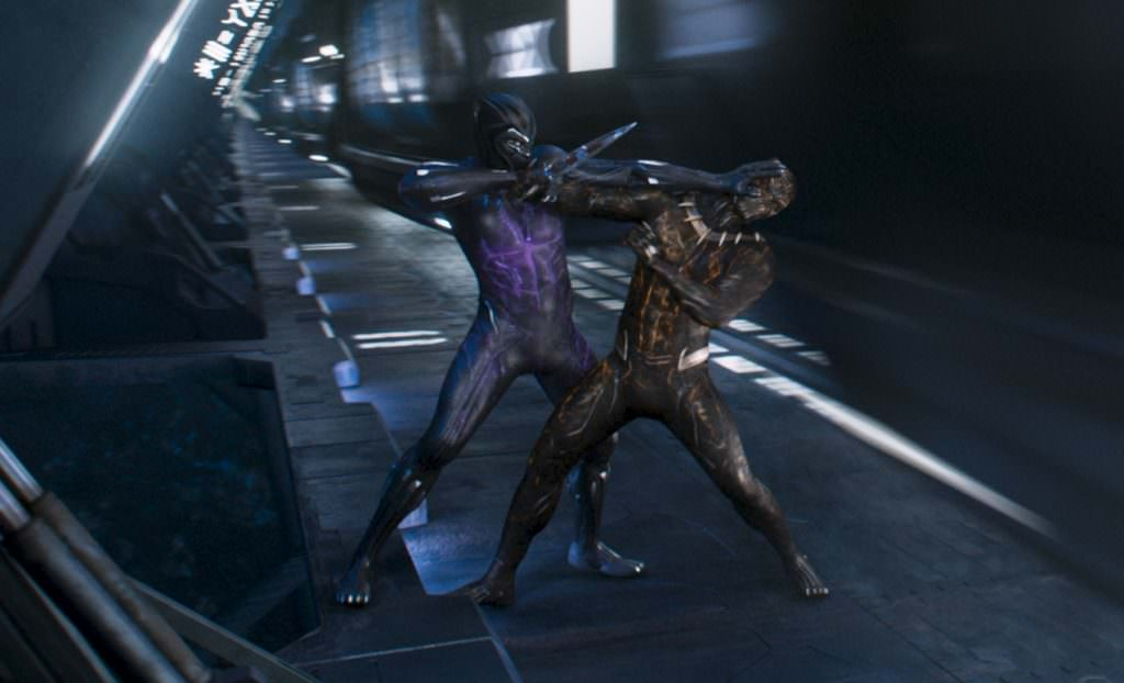 Marvel Studios' BLACK PANTHERL to R: Black Panther/T'Challa (Chadwick Boseman) and Erik Killmonger (Michael B. Jordan) Ph: Film Frame©Marvel Studios 2018
