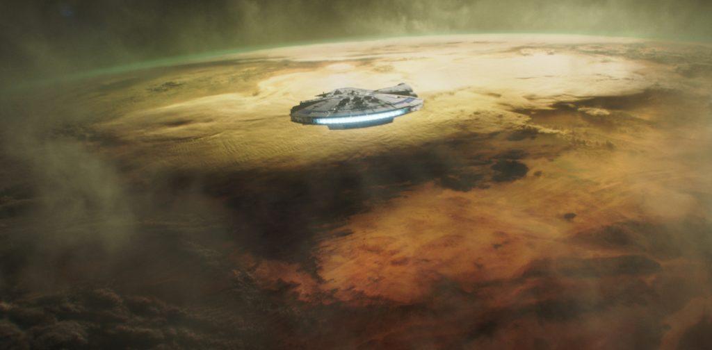 The Millenium Falcon in SOLO: A STAR WARS STORY. Courtesy Lucasfilm/Walt Disney Studios