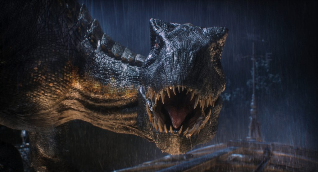 "The Indoraptor prepares to strike in ""Jurassic World: Fallen Kingdom."" When the island's dormant volcano begins roaring to life, Owen and Claire mount a campaign to rescue the remaining dinosaurs from this extinction-level event. Welcome to ""Jurassic World: Fallen Kingdom."" Photo Credit: Universal Studios and Amblin Entertainment, Inc. and Legendary Pictures Productions, LLC."